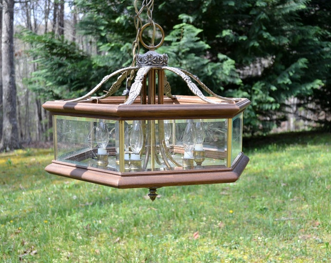 Vintage Chandelier Wood Glass Metal Forecast Lighting 6 Arm Etched Starburst Glass Ornate Metal PanchosPorch