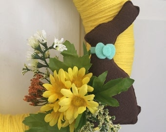 Chocolate Easter Bunny Wreath - Easter Wreath - Spring Wreath - Easter Bunny Wreath - Yarn Wreath - Yarn Wreath - Easter Wreath