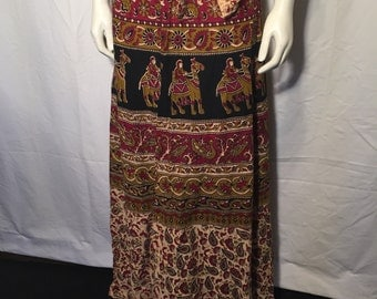 Vintage Indian Cotton Maxi Wrap Skirt Paisley with Floral and Camels L Large XL Extra Large Claret Red Black Tan