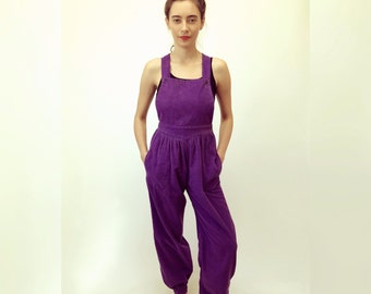 Playground Jumpsuit // vintage 70s high waist overalls boho hippie harem tapered hipster romper hippy 1970s purple cotton // XS/S