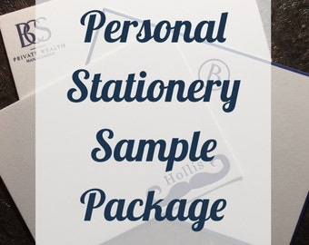 Personal Stationery SAMPLE PACKAGE   Custom Family Stationery   Letterpress or Digitally Printed Correspondence Card   Letterpress Flat Card