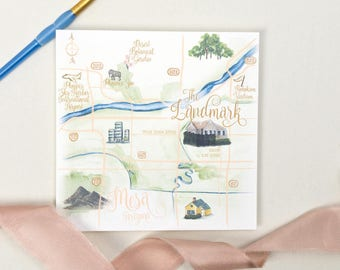 Custom Watercolor Map, Watercolor Wedding Map, Custom Map Art