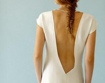 MELISSA / bridesmaid dress, bridal gown with open back, Deep v neckline dress Romantic simple wedding dress, low back dress, victoriaspirina