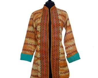 KANTHA JACKET - Medium - Long style - Size 12/14 - Burnt orange. Reverse aquamarine.
