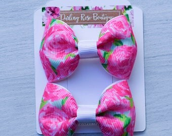 "set of two 3-2.5"" Lilly Pulitzer preppy summer pigtail hair bows piggies"