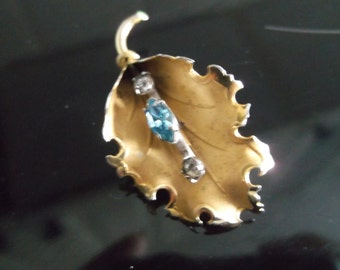 Vintage Gold Tone with Pale Blue & white Stone Leaf Brooch signed ECCO