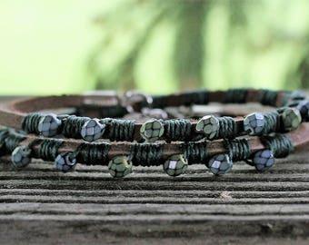 Wrap Bracelet- Leather Wrap Bracelet- Macrame Wrap Bracelet- Boho Jewelry- Irish Wax Linen- Leather Bracelet