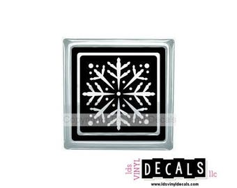 Window Snowflake (Solid) - Frozen Inspired Winter Vinyl Lettering for Glass Blocks - Christmas Craft Decals