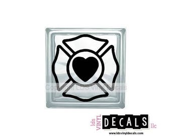Maltese Cross (with Heart) - Occupation Vinyl Lettering for Glass Blocks - Firefighter Craft Decals