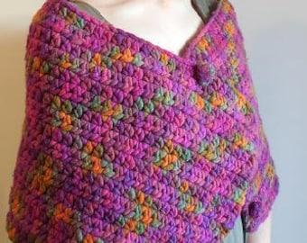 Versatile, Multi Colored, Wool Wrap / Shawl, Pink, Purple wool shawl