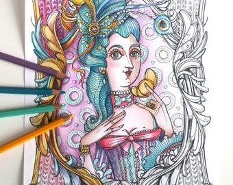Coloring page- Marie Antoinette portrait -PDF Instant download, illustration coloring kit - NEW Art Printable Pattern