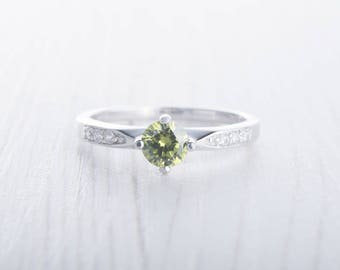 Natural Peridot Solitaire engagement ring - available in white gold or sterling silver - handmade engagement ring - wedding ring