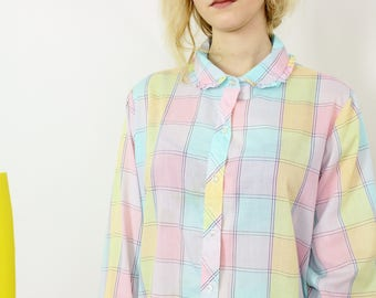 80s oversized shirt pink and blue pastel white plaid pattern long sleeve peter pan collared top