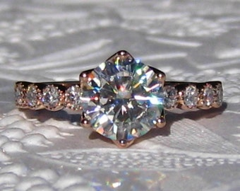 Forever One Moissanite Engagement Ring, Rose Gold LILY Solitaire Diamond Engagement Ring