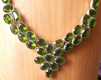 Peridot and Sterling Silver Bib Necklace