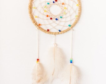 Rainbow Chakra Dreamcatcher, Hippie Dreamcatcher, dainty, boho, wall hanging
