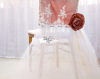 Rose Gold Lace & Ribbon Flower Chair Slipcover | Chiavari Chair decoration for Classic Wedding Bridal Shower Bachelorette Sweet 16 Party