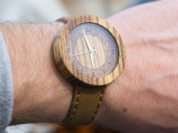 African Zebrano minimal wood watch , Majestic Watch, Sandy Genuine Leather strap + Any Engraving / Gift Box. Anniversary  gift