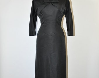 50s black silk dress / 1950s sheath evening dress / vintage bow wiggle dress
