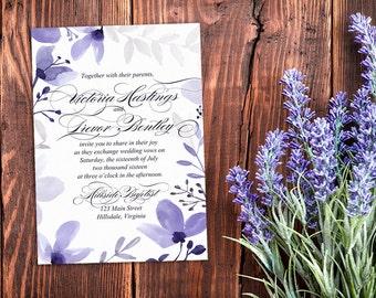 Rustic Wedding Invitation - Watercolor Floral Invitation Indigo - Watercolor Wedding Calligraphy Rustic Floral Watercolor Invitation DEPOSIT