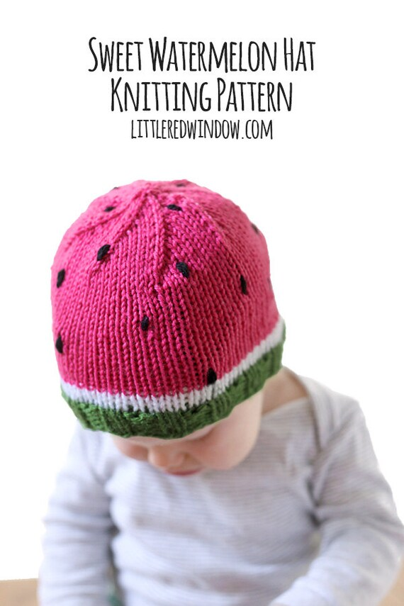 Watermelon Baby Hat KNITTING PATTERN - knit hat pattern for babies, infants - sizes 0-3 months, 6 months, 12 months, 2T+