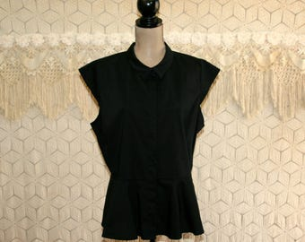 Plus Size Black Blouse Short Sleeve Top Cap Sleeve Peplum Button Up Shirt Size 16 1X XL Cotton Blend Plus Size Clothing Womens Clothing