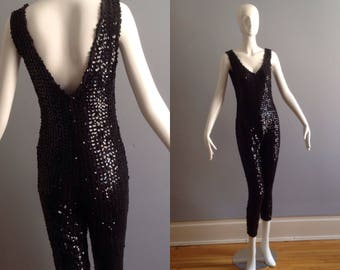 Vintage 80s Black Sequin Stretch Jumpsuit ~ Low Back Sleeveless Onesie ~ Avant Garde Retro Leotard ~ Deco Bodysuit