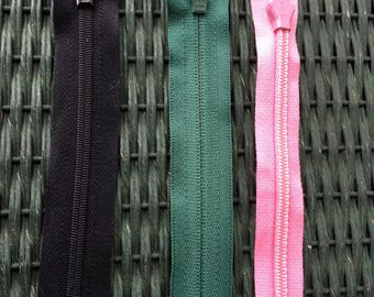 """LOT of 3 Zippers Pink, Black and Green 18"""" and 23"""" Plus Sewing Crafting"""