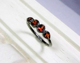 25% OFF Garnet Gemstone Band, 4 Stone Ring, Made to Order, Sterling Silver