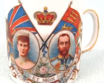Antique Collectible Coronation Mug, King George V and Queen Mary, 1911 Coronation, English Monarchy, Edwardian History, Colorful Mug, Retro