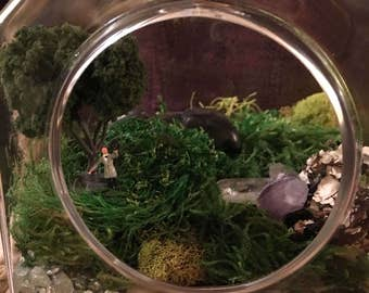 Glass Terrarium Kit- Moss Garden House with Tiny Dapper Old Fashioned Man