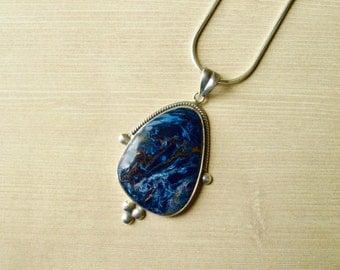 Embellished Statement Pietersite Pendant // Pietersite Jewelry // Sterling Silver // Village Silversmith
