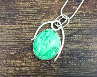 Modern Abstract Variscite Pendant // Variscite Jewelry // Sterling Silver // Village Silversmith