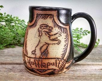 Hufflepuff Mug - 16 oz Black Wheel Thrown Hand Carved Coffee Cup