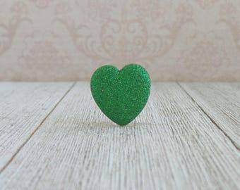 Green Heart - Glitter Heart - Valentine - Love - Wedding - Growth - Renew - Lapel Pin