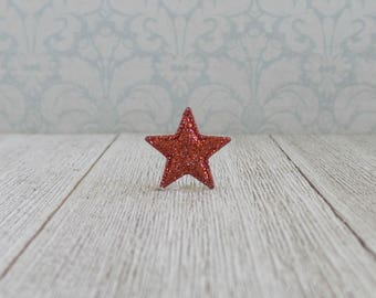 Red Star - Glitter Red Star - Patriot - America - 4th of July - USA -Lapel Pin