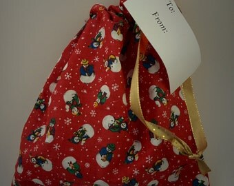 """Cloth Gift Bag Drawstring 8""""x8"""" Reusable Christmas"""