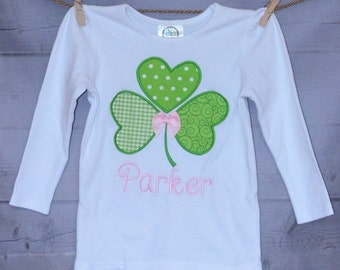 St Patrick's Day Shamrock or Initial Applique Shirt or Onesie Boy or Girl