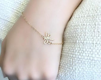 14k gold filled dragonfly bracelet rose quartz gemstone bracelet dragonfly jewelry minimalist bracelet rose quartz jewelry gold dragonfly