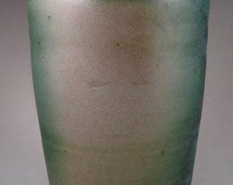 Green Stoneware Soda Fired Vase, Unique Gift, Birthday Gift