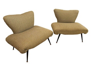 Mid-Century Lounge Chairs Danish Modern Italian Accent/Lounge Chairs-PAIR