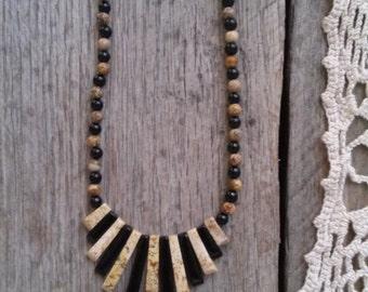Tan Jasper & Onyx Art Deco Egyptian Style Bib Necklace - Natural Stone statement Necklace