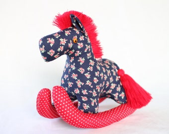 Rocking Pony, baby horse, Plush, Baby - Colorful, Cute, Baby Shower, Cotton Fabric, Red, Blue, Floral