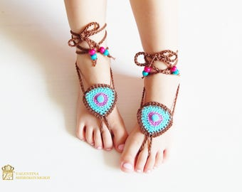 Foot Jewelry, Beach Shoes Foot Jewelry, Foot Jewelry, Barefoot Sandals, Nude Shoes, Beach Sandals, Crochet Barefoot Sandals for Kids