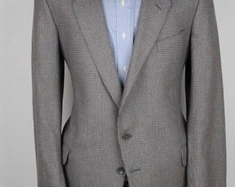 Grey Blue Mens Tweed Jacket John Ashford Vintage Herringbone