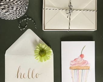 Cupcake Stationery Cards - Set of 10