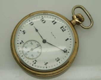 Vintage ELGIN Model 2, Grade 315, 15j, 12s, Open Face Gold Plated Pocket Watch