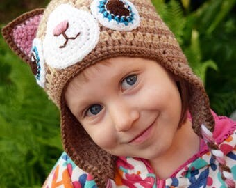 Handmade Crochet Cat hat, Cat hat, Boys hat, Girls hat, Todller hat, Character Hat, Animal hat