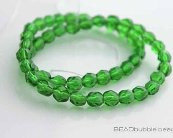 6mm Emerald Green Czech Fire Polished Glass Beads x 50, Jewelry Making Supplies (CZB603)
