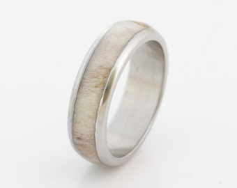 antler wedding band antler ring titanium wedding band